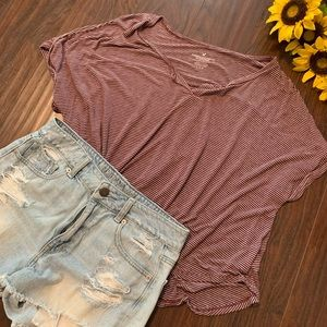 American Eagle Striped Relaxed Fit Tee